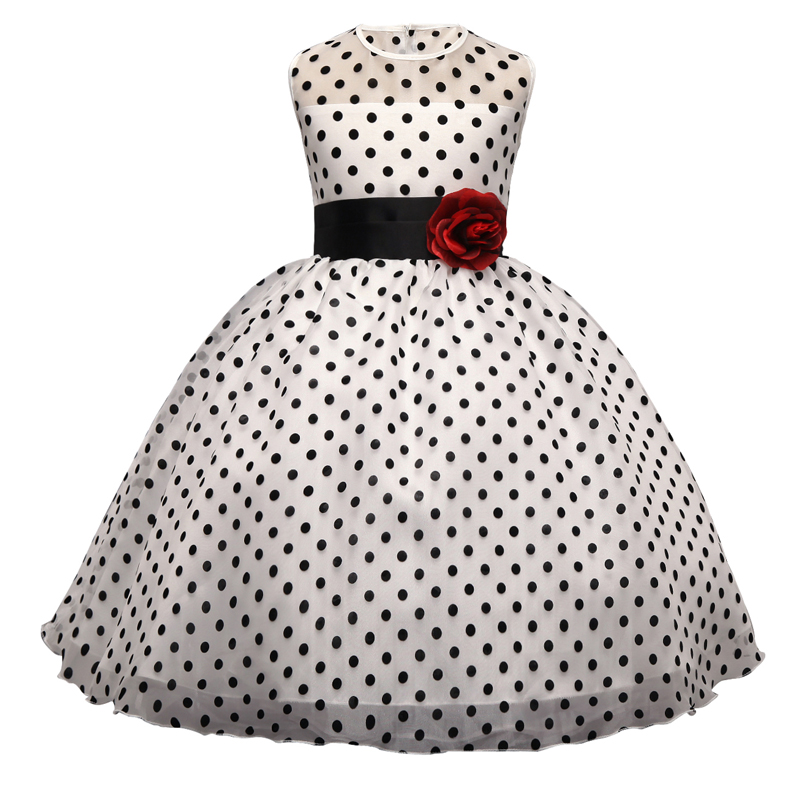 New Formal Polka dots Princess Wedding Party Dress for Girl Children Clothing Ball Gown Layered Kids