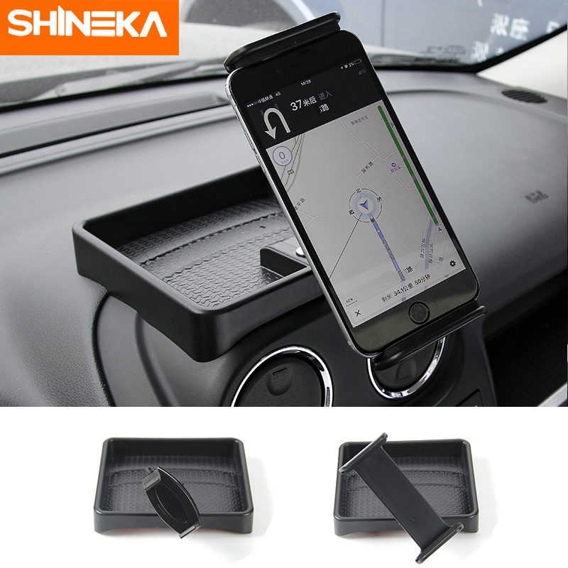 Niceautoitem Black ABS Interior Dashboard Car Mobile Phone Holder Stand Bracket Stickers for Jeep Wrangler TJ 1997-2006