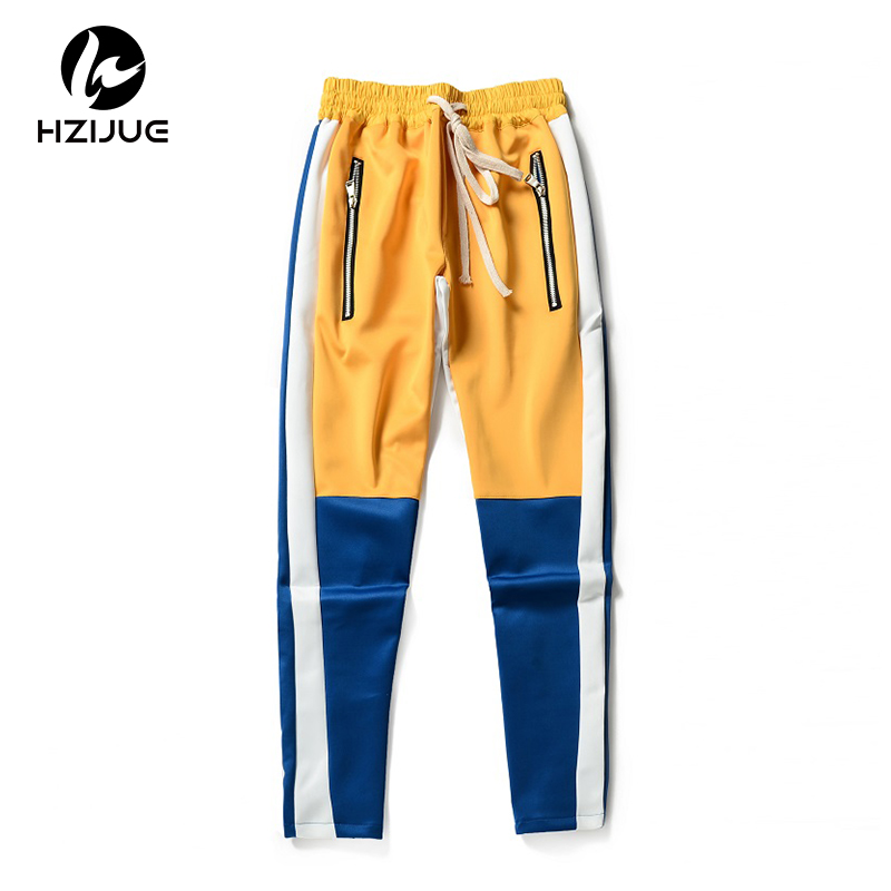 HZIJUE Vintage Color Block Patchwork Sweatpants 2018 Men's Hip Hop Side Zipper Casual Elastic Waist Joggers Pants Streetwear-in Casual Pants from Men's Clothing