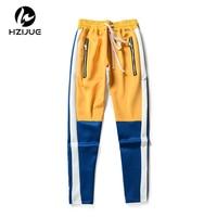 HZIJUE Vintage Color Block Patchwork Sweatpants 2018 Men's Hip Hop Side Zipper Casual Elastic Waist Joggers Pants Streetwear