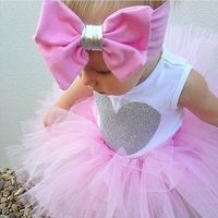 0 18M Newborn Infant Baby Girls Clothes Sleeveless Heart Bodysuit Romper Tutu Skirt Headband 3pcs Outfit