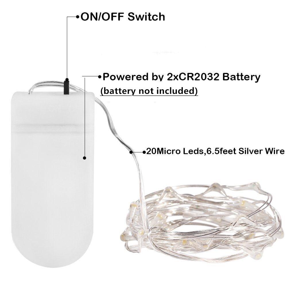10X Micro Draht LED String Fairy Light 2 Mt 20 Leds CR2032 ...