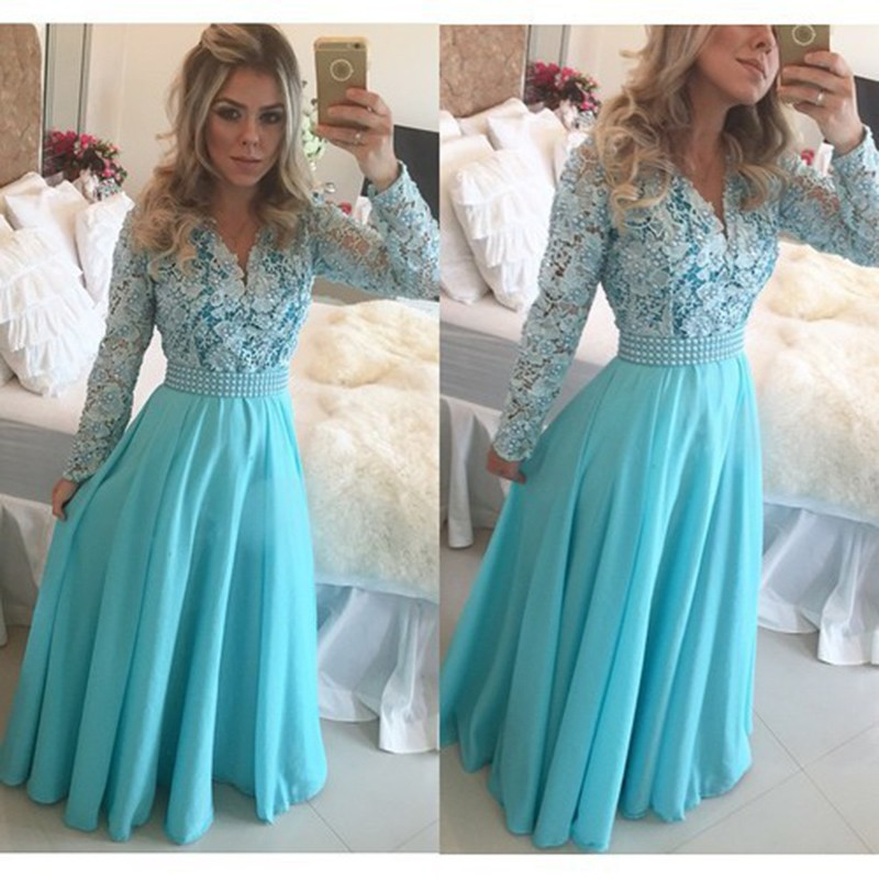Popular Blue Lace Long Sleeve Gown-Buy Cheap Blue Lace Long Sleeve ...