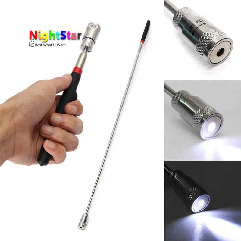 Nouveau Magnétique Lumière DEL Long Extensible Télescopique Flexible Pick Up Outil