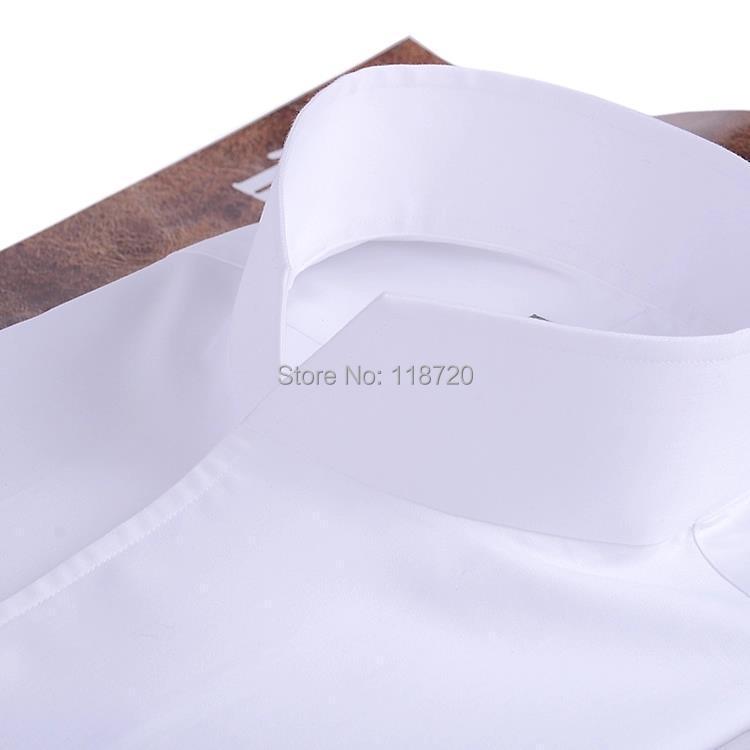 Мужская модная рубашка смокинг, французские запонки для банкета, рубашка с длинными рукавами, классический воротник стойка, 100% хлопок, высо... - 4