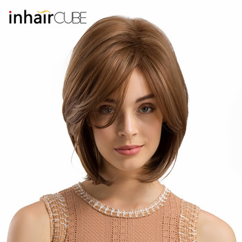цены INHAIR CUBE Women Synthetic Wigs Side Parted Heat Resistant Mixed Color Straight Hair Wig Blonde Medium Length Elastic Wig Cap