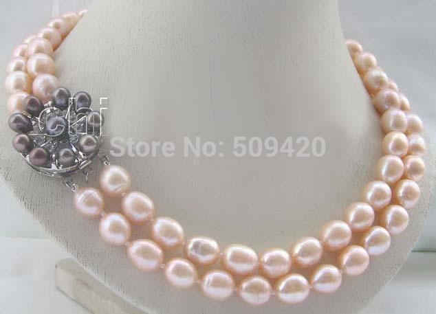 e34a0719dbae Envío libre AAA 17-18 11-13mm Rosa natural barroco collar de perlas de agua  dulce- perla