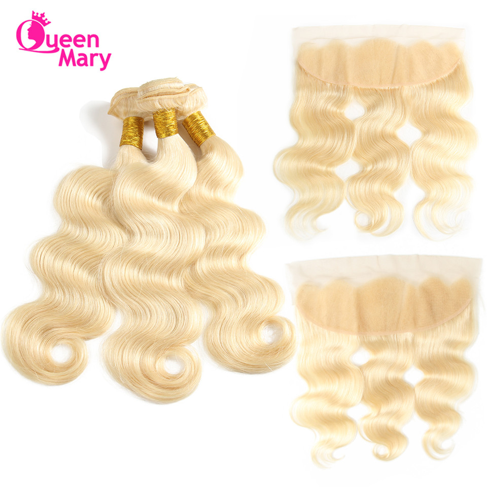 Queen Mary Hair 613 Bundles With Frontal Blonde Bundles With Frontal Closure Body Wave Bundles With Frontal Closure NonRemy Hair