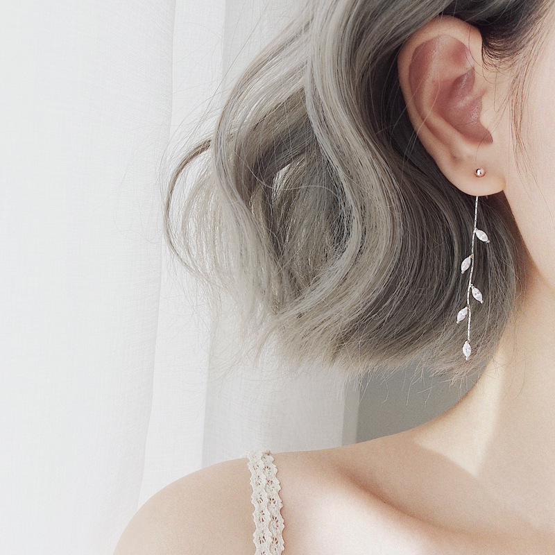 100% 925 Solid Real Sterling Silver Crystal Leaf Tassel Drop Earrings For Women Girls Pendientes Brincos Eh962