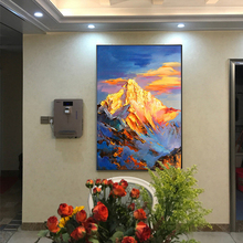 100% Hand Painted Golden Mountain Peaks Art Painting On Canvas Wall Adornment Picture For Live Room Home Decor