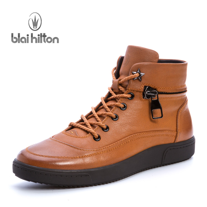 Blai Hilton New Autumn Winter 100% Luxury Genuine Cow Leather  Western Boots Men Shoes Warm Fur Mens Ankle Boot Motorcycle 2017 new autumn winter british retro men shoes zipper leather breathable sneaker fashion boots men casual shoes handmade