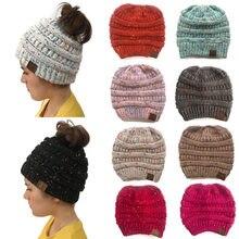 Berretti invernali Cappello donne warm baggy di Alta panino Coda di Cavallo  Elastico Knit Beanie skullies 6db1da2da04e