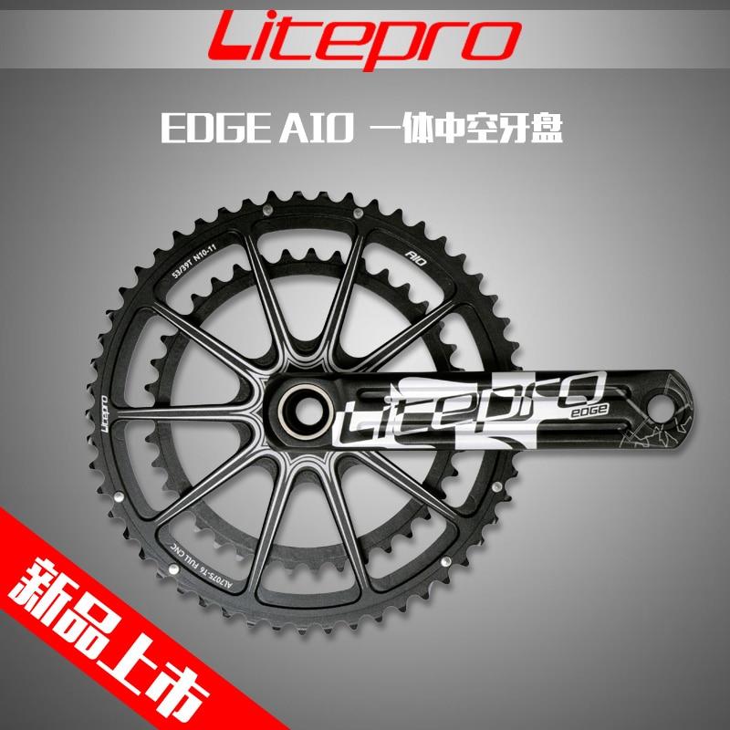 Litepro EDGE AIO Hollow Double Chainring road bike Crankset Crank 53-39T 50-34T 52-36T 170mm 172.5mm