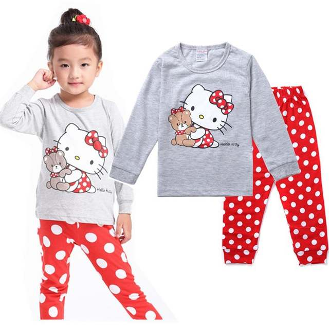 59aa1fb7a Spring Autumn Kids Girls Boys Hello Kitty Sleepwear Long Sleeve Pajamas  Cotton Nightdress Baby Childrens Cartoon Pyjamas Sets-in Clothing Sets from  Mother ...