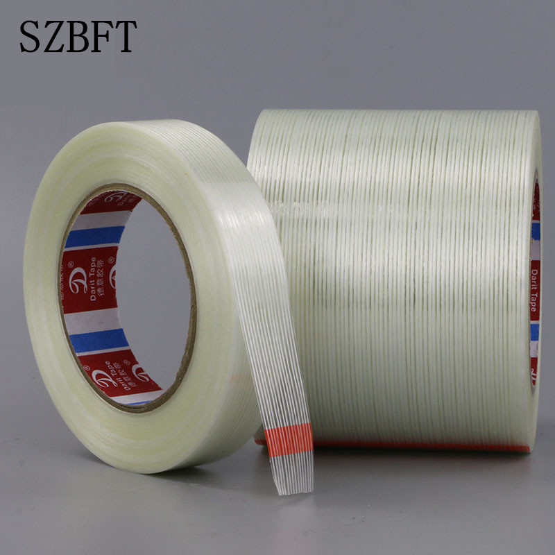 SZBFT Strong linear fiberglass tape Single-sided striped rubber aircraft model fixed tape 1-2-3-4-5*50M striped tape side pocket skirt