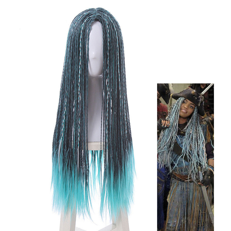 Descendants 2 Uma Cosplay Wig Long Braided Dreadlock Mixed Blue Wigs Hair free shipping ...