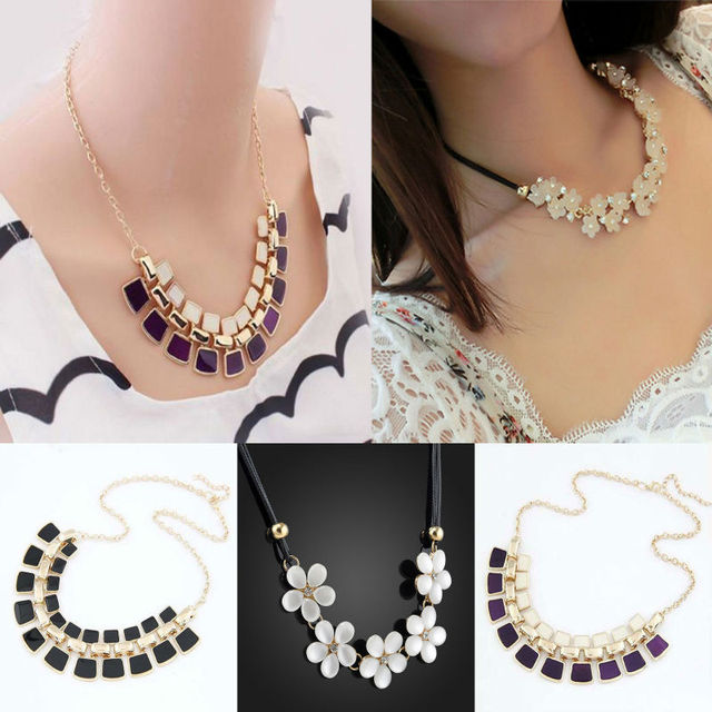 4cb9369ea Fashion Crystal Flower Rhinestone Statement Choker Chain Pendant Necklace  BIB Chunky Necklaces For Women Ladies Jewelry Gifts
