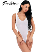 2017 New Arrival Womens High Cut Backless Bodysuit Leotard One Piece Sleeveless See-through Thong Lingerie Body Suit for Women