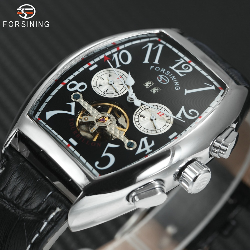 FORSINING Fashion Casual Automatic Watch Men Date Month Display Case Genuine Leather Band Top Brand Luxury Mechanical Wristwatch forsining date display automatic mechanical watch men business leather band watches modern gift dress classic analog clock box