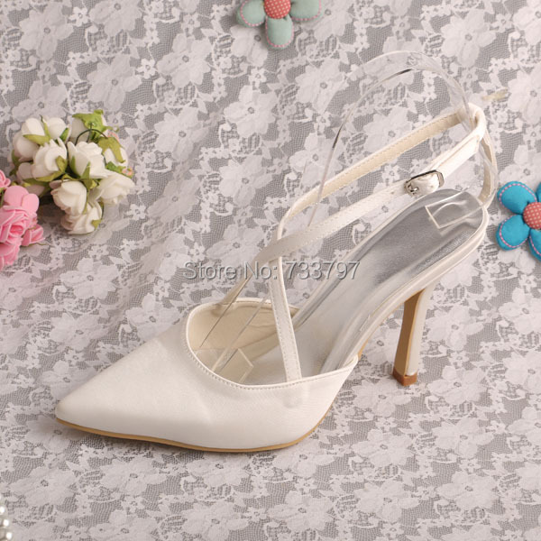 Wedopus Brand Name Ivory Satin Wedding Heels for Woman Party Pointed Toe