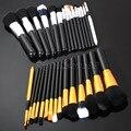 15 unids maquillaje cepillos del polvo fundación sombra de ojos delineador de labios herramienta pincel de oro y plata de Color componen cepillos para belleza