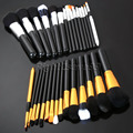 15pcs Makeup Brushes Set Powder Foundation Eyeshadow Eyeliner Lip Brush Tool Gold and Silver Color Make up Brushes for Beauty
