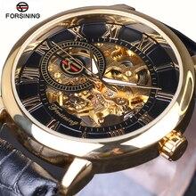 2016 FORSINING Fashion Design Negro Reloj de Oro de la mano del viento reloj mecánico de los hombres de cuero negro banda Relogio Masculino Envío Gratis
