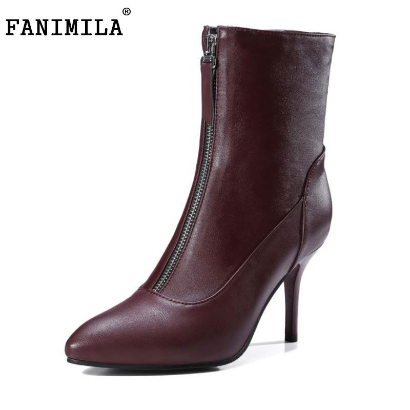 FANIMILA Size 33-43 Women'S Winter Boots With Warm Plush Inside Female Zip Thin High Heel Sexy Pointed Toe Mid Calf Warm Botas odetina 2017 new faux suede mid calf boots with front zipper chunky heel elastic boots thick plush winter warm shoes big size 43