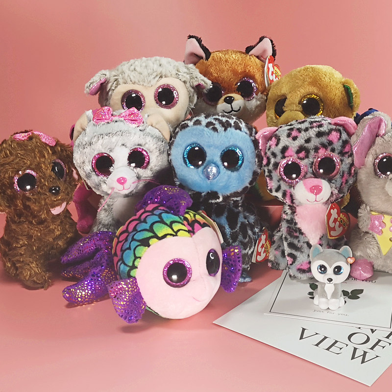 ab33c12343c Ty Beanie Boos big eye plush toy Doll for Girl Rabbit Fox Cute Animal Owl  Unicorn Cat Ladybug 6