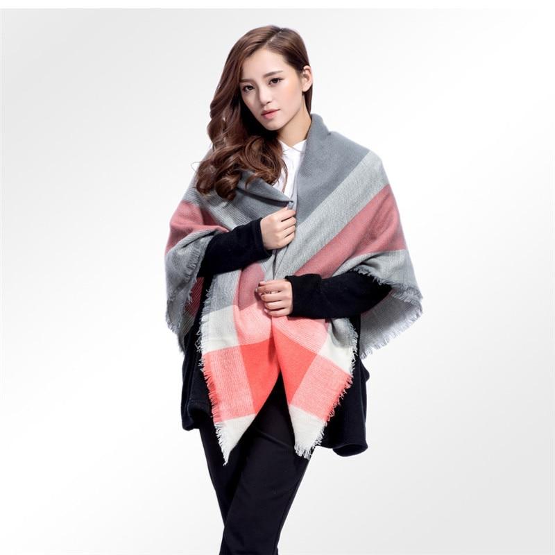 CW imitation cashmere lattice stitching cotton scarf square shawl collar for women winter warm 140*140 CM