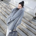 2017 Spring  Korean version of the large cocoon-type cape Gray Fur coat it in the long section of the winter coat Wool & Blends