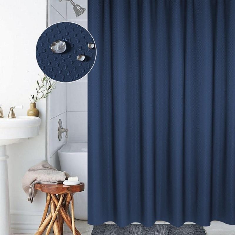 Online Shop Solid 3D Plaid Shower Curtain Thicker Polyester Curtains Navy Blue Bath 180x180cm High Quality Rideaux De Douche