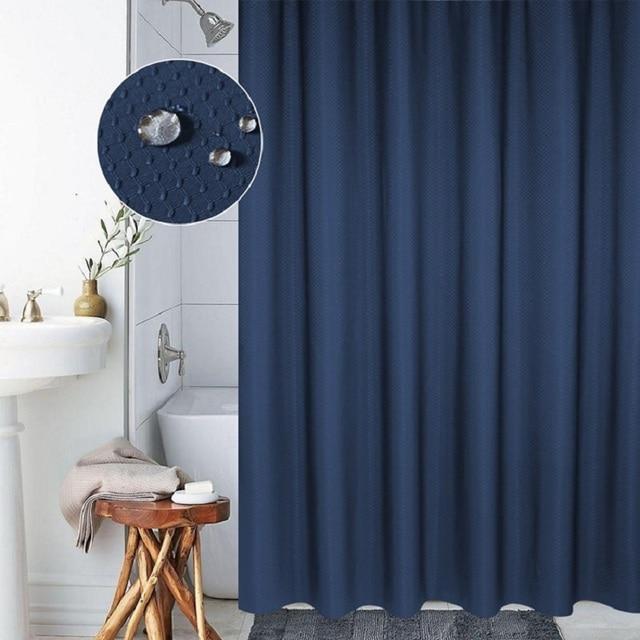 Solid 3D Plaid Shower Curtain Thicker Polyester Curtains Navy Blue Bath 180x180cm High Quality Rideaux De Douche