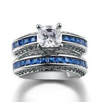 Princess Cut 6mm 925 Silver Simulated Diamond Sapphire White Gold GF Women Wedding Engagement Bridal Sets