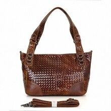 New 2016 Genuine Leather Women Weave Handbag Patchwork Natural Cowhide Shoulder Bag Famous Brand Women Bag Casual Tote LI-1446