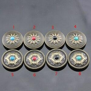 5 шт./лот, кожаный кошелек для поделок, винтажный, бронзовый цвет, украшение из искусственного камня, сумка для ремня, винты, кнопки