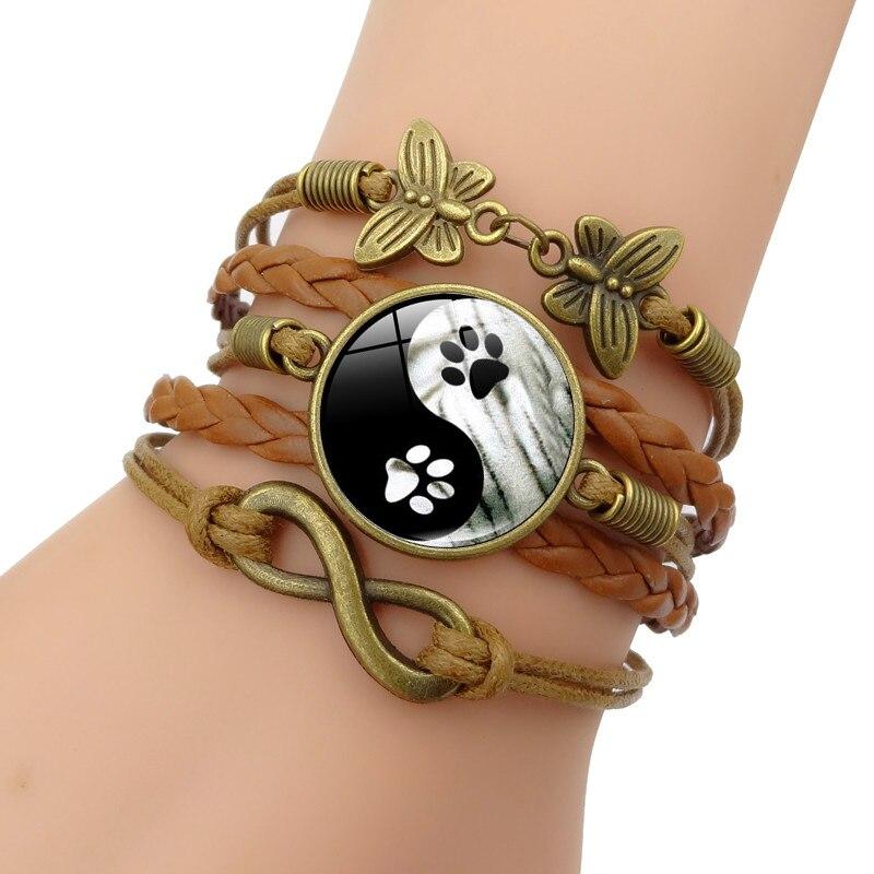Xushui Xj Tai Chi Yin Yang Charm Bracelet Dog Paw Gl Cabochon Infinite Erfly Vintage Jewelry