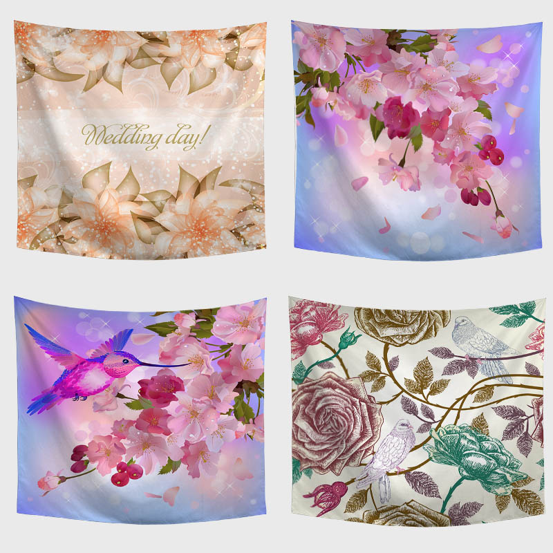 Amazing Graceful Painted Bright Flowers Beautiful Sight Printed Wall Hanging Tree Natural Scenery Tapestry Living Room Decor