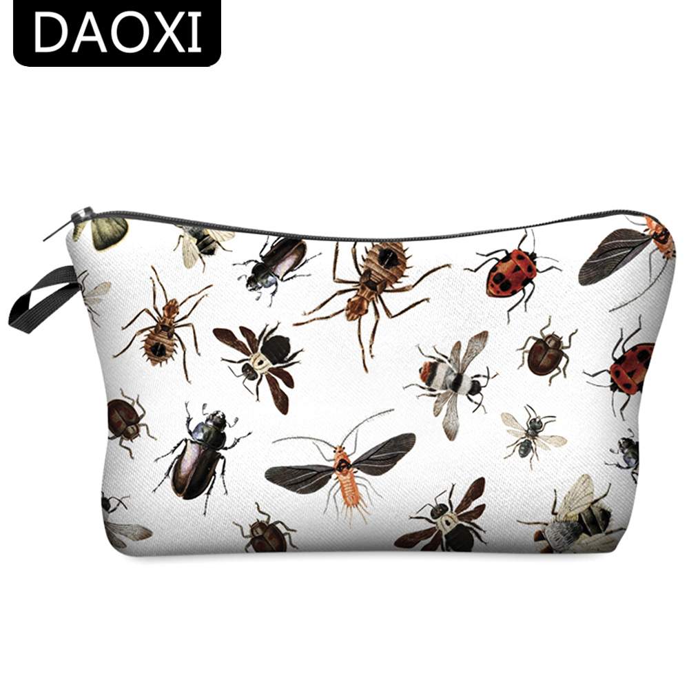 DAOXI Makeup Bags 3D Printing Insect Pattern Funny Necessary for Travelling Women Organizer Cosmetic Toiletry 10020