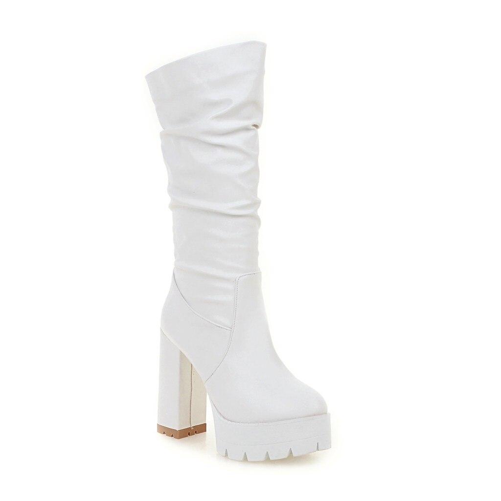 Talon Dames Carré Chaussures Haute blanc Noir Adaptées Décontracté Bottes bleu Femmes Doux Pour Dîner rose 2019 Super mollet Partie Mi Un nv8Bw1X