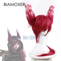 Biamoxer Xayah Cosplay Wigs Ears Red Ponytail New 136th Champion LOL Cosplay Heat Resistant Synthetic Hair Perucas Cosplay Wig