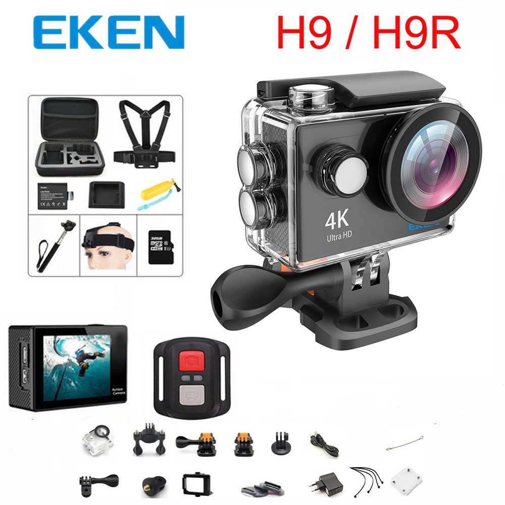 الأصلي 100% EKEN H9/H9R عمل كاميرا الترا HD 4K واي فاي 1080 P/60fps 2.0 LCD 170D عدسة خوذة كام مقاوم للماء برو الرياضة كاميرا