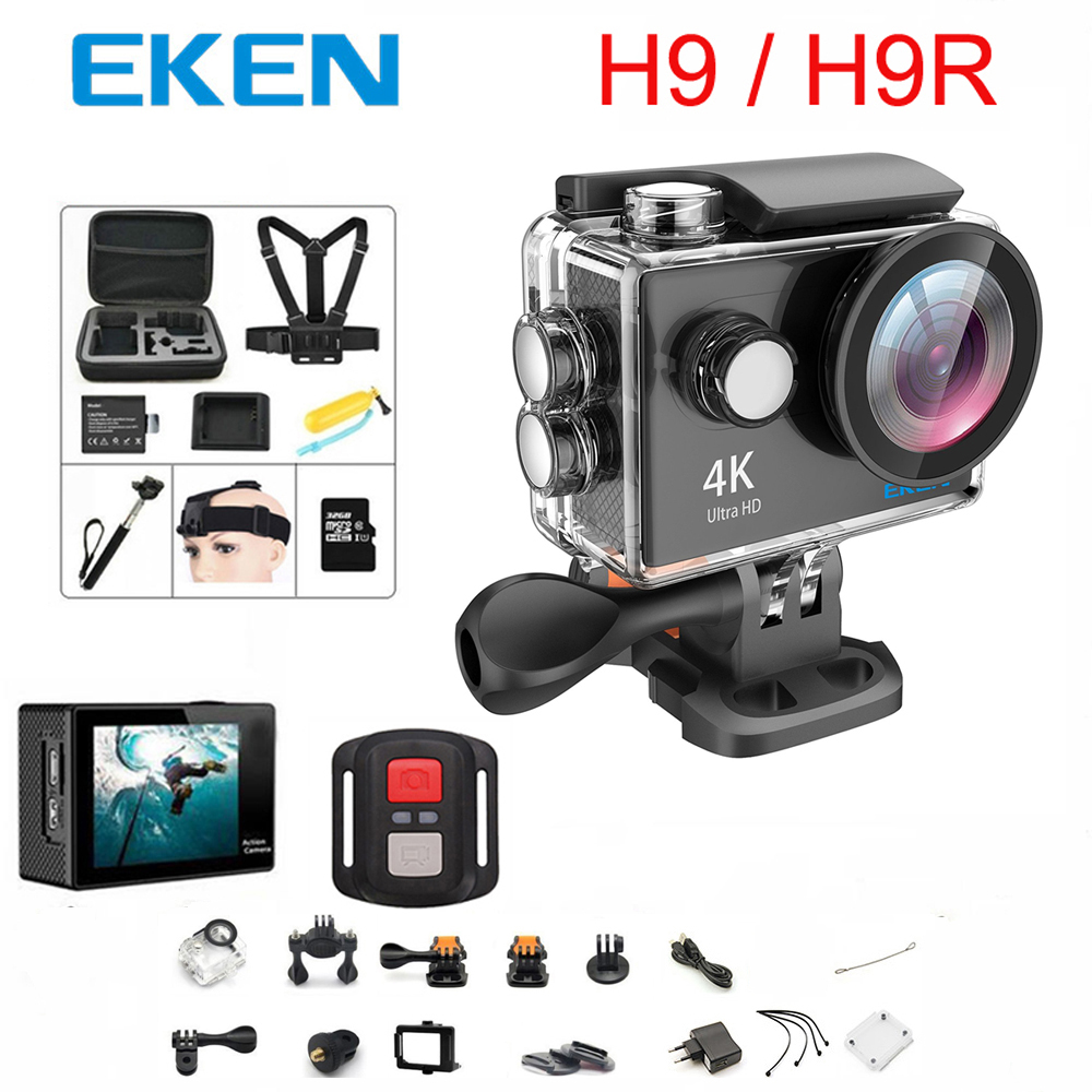 Original 100% EKEN H9/H9R Cámara de Acción Ultra HD 4 K WiFi 1080 p/60fps 2,0 LCD 170D lente de cámara de casco impermeable pro Cámara de los deportes