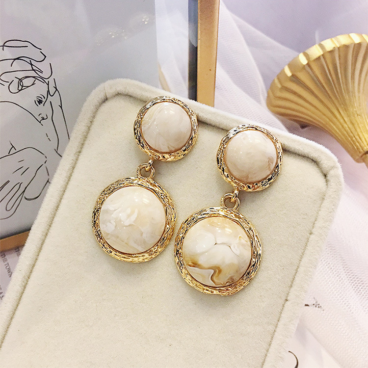 2018 Hot New Style Delicate Double Round Marble Trendy Drop Earrings Temperament Pendientes Fashion Brincos Jewelry Cute Gift