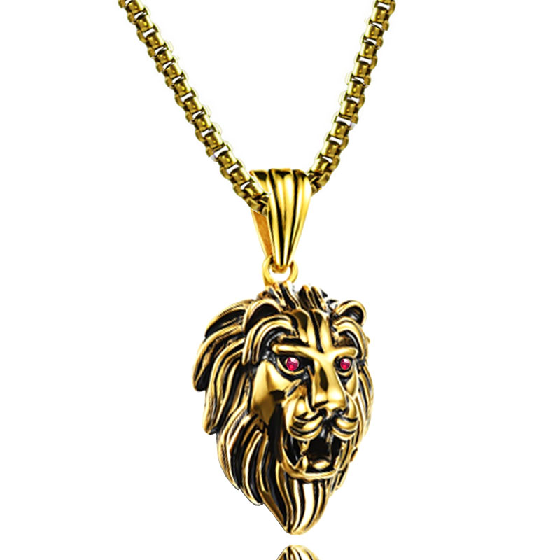 ᗜ LjഃLion Head Pendant ᗔ Power Power Necklaces Stainless ...
