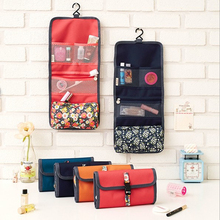 INHO CHANCY Printing Small Floral Cosmetic Bag Polyester Foldable Clutch Makeup Bag Travel Organizor Hanging Cosmetic Case