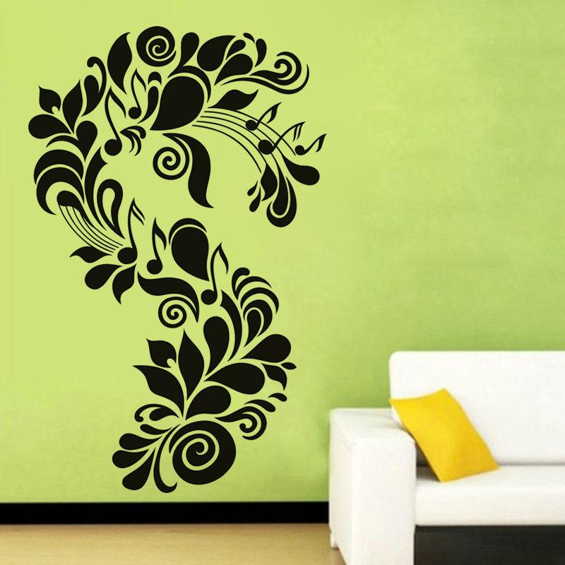 carta forma creativa s etiqueta de la pared de flores y notas musicales arte vinilo removible etiqueta de la pared decoracin de