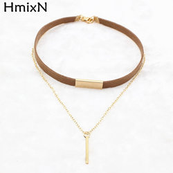 2017 new black brown velvet choker necklaces jewelry square gold plated strip statement leather necklaces collar.jpg 250x250
