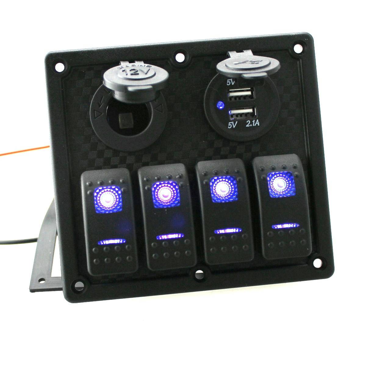 Us 32 19 8 Off Gang Circuit Led Car Marine Waterproof 5 Pin Boat Rocker Switch Panel With Fuse Dual Usb Slot Power Socket Breaker Voltmeter In Car