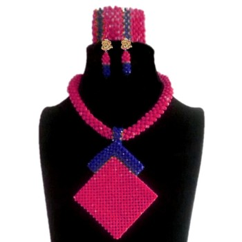 Dudo Bridal Jewelry Sets Fuchsia and Royal Blue Geometric Costume Choker Necklace Set For African Women Free Shipping 2019